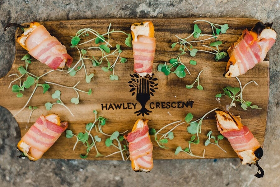 Bacon wrapped peppers with cream cheese by Hawley Crescent Catering & Events